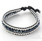 Black Series Black Crystal and Silver Beads Woven Bracelet with Black Leather Cord