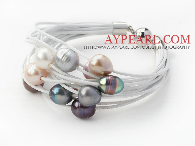 Multi Strands 11-12mm Multi Color Freshwater Pearl White Leather Bracelet with Magnetic Clasp