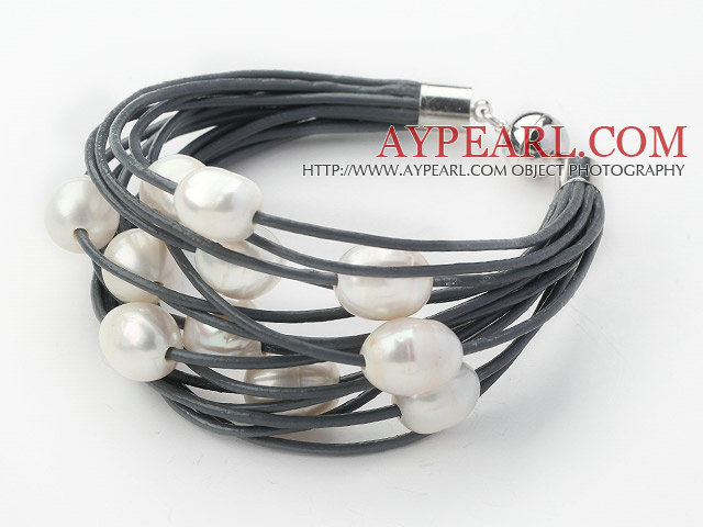 Multi Strands 11 12mm Natural White Freshwater Pearl Gray Leather Bracelet With Magnetic Clasp