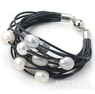 Multi Strands 11-12mm Natural White and Gray Freshwater Pearl Black Leather Bracelet with Magnetic Clasp