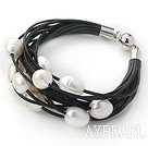 Discount Multi Strands 11-12mm Natural White Freshwater Pearl Black Leather Bracelet with Magnetic Clasp