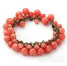 Wholesale Orange Pink Color Round Candy Jade Bracelet with Brozne Chain