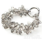Ny stil To Strands Drop Shape Gray Crystal armbånd