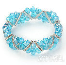 Lake Blue Series Lake Blue Crystal Elastic Bangle Bracelet med Rhinestone