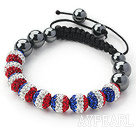 Discount Fashion Style Blue White and Red Color Rhinestone and Tungsten Steel Stone Drawstring Bracelet