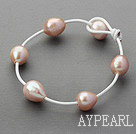 Wholesale Classic Design 11-12mm Natural Pink Freshwater Pearl White Leather Bracelet with Pearl Clasp