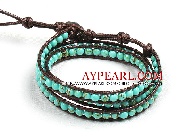 Fashion Style Turquoise Beads Three Times Wrap Bangle Bracelet