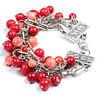Fashion Multi Strand Red Coral Beads Charm Bracelet