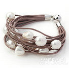 Wholesale Multi Strands 11-12mm Natural White Freshwater Pearl Brown Leather Bracelet with Magnetic Clasp
