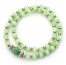 Double Rows Apple Green Cats Eye and Golden Color Beads Stretch Bangle Bracelet with Green Rhinestone Ball