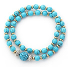 Double Rows Blue Turquoise and Golden Color Beads Stretch Bangle Bracelet with Blue Rhinestone Ball