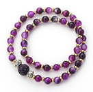 Double Rows Purple Agate and Golden Color Beads Stretch Bangle Bracelet with Dark Purple Rhinestone Ball