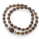 Wholesale Double Rows Natural Smoky Quartz and Golden Color Beads Stretch Bangle Bracelet with Brown Rhinestone Ball