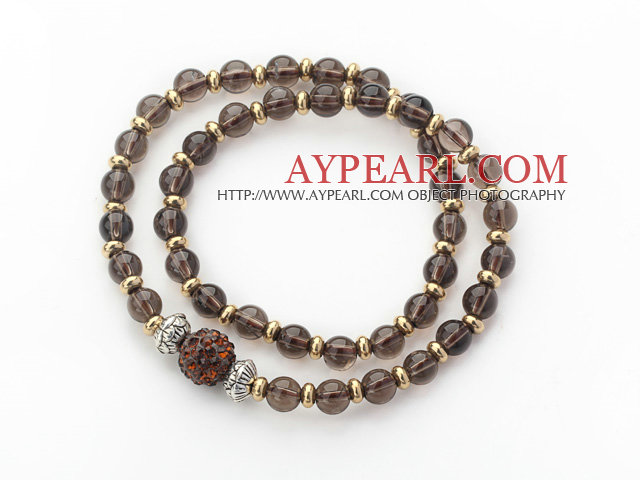 Double Rows Natural Smoky Quartz and Golden Color Beads Stretch Bangle Bracelet with Brown Rhinestone Ball