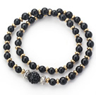 Wholesale Double Rows Black Agate and Golden Color Beads Stretch Bangle Bracelet with Black Rhinestone Ball