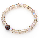 Wholesale Simple Design Ambar Crystal Stretch Bangle Bracelet with Brown Rhinestone Ball