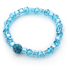 Wholesale Simple Design Lake Blue Crystal Stretch Bangle Bracelet with Blue Rhinestone Ball