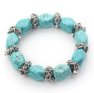 Irregular Shape Turquoise Stretch Bangle Bracelet with Tibet Silver Flower Accessories