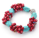 Wholesale Assorted Turquoise and Round Alaqueca Stretch Bangle Bracelets