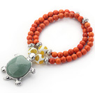 Orange Red Color Turquoise 2 Wrap Stretch Bangle Bracelet with Random Color Tortoise Shape Aventurine Accessory