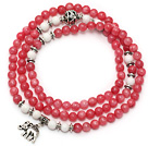 Rose Pink Color Candy Jade 4 Wrap Stretch Bangle Bracelet with White Porcelain Stone and Elephant Accessories