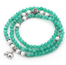 Lake Green Color Candy Jade 4 Wrap Stretch Bangle Bracelet with White Porcelain Stone and Elephant Accessories