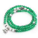 Green Color Candy Jade 4 Wrap Stretch Bangle Bracelet with White Porcelain Stone and Elephant Accessories