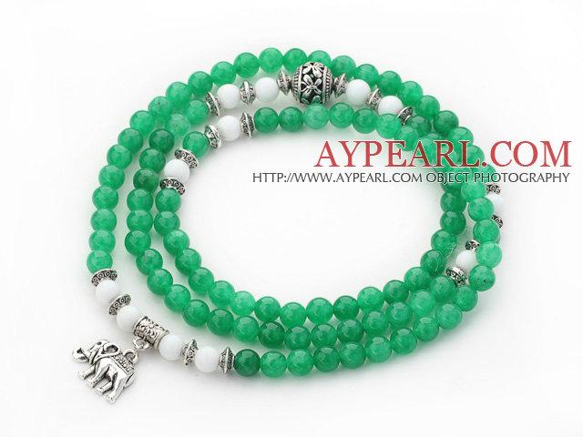 Grön Färg Candy Jade 4 Wrap Stretch ARMRING armband med vitt porslin sten  och tillbehör Elephant db20e6b33b891