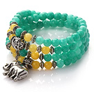 Wholesale Green Color Candy Jade 4 Wrap Stretch Bangle Bracelet with Yellow Candy Jade and Elephant Accessories