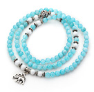 Light Blue Color Candy Jade 4 Wrap Stretch Bangle Bracelet with White Porcelain Stone and Elephant Accessories