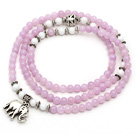 Wholesale Light Purple Color Candy Jade 4 Wrap Stretch Bangle Bracelet with White Porcelain Stone and Elephant Accessories