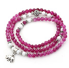 Wholesale Purple Red Color Candy Jade 4 Wrap Stretch Bangle Bracelet with White Porcelain Stone and Elephant Accessories