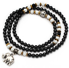 Black Color Candy Jade 4 Wrap Stretch Bangle Bracelet with White Porcelain Stone and Elephant Accessories