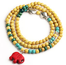 Yellow Color Turquoise 4 Wrap Stretch Bangle Bracelet with Green Turquoise and Elephant Accessories