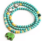 Blue Turquoise 4 Wrap Stretch Bangle Bracelet with Yellow Turquoise and Elephant Accessories (The Elephant is Random)