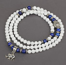 White Candy Jade 4 Wrap Stretch Bangle Bracelet with Lapis and Elephant Accessories