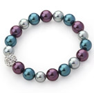 Classic Design Gray and Purple and Peacock Blue Color Round Seashell Beaded Stretch Bangle Bracelet with White Rhinestone Ball