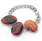 Wholesale Fashion Style Brown Color Metal Wrapped Brazil Atriped Agate Bracelet with Metal Chain