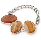 Wholesale Fashion Style Amber Color Metal Wrapped Brazil Atriped Agate Bracelet with Metal Chain