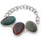 Fashion Style Green Color Metal Wrapped Brazil Atriped Agate Bracelet with Metal Chain