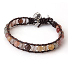 Popular Single Strand Rutilated Quartz Beads Brown Leather Bracelet with Hear Charm