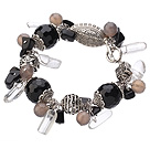 Vintage Style Black And Gray Agate Clear Crystal Tibet Silver Accessory Charm Bracelet With Toggle Clasp
