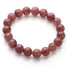 Wholesale Retro Simple Style 10mm Round Cherry Quartz Beads Elastic Bracelet