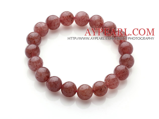 Retro Simple Style 10mm Round Cherry Quartz Beads Elastic Bracelet