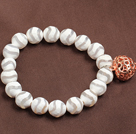 Wholesale Trendy White Hand-Painted Agate Elastic/ Stretch Bracelet With Golden Rose Color Hollow Heart Charm
