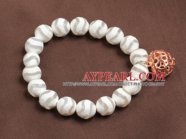 Trendy White Hand-Painted Agate Elastic/ Stretch Bracelet With Golden Rose Color Hollow Heart Charm