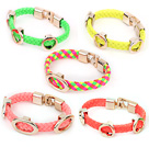 5 Pieces Popular Style Candy Color Leather Friendship Bracelet with Metal Accessories( Random Color )