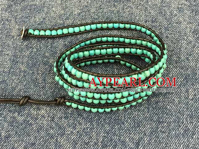 Fashion Hot Sale Multi Strands Round Turquoise Beads Wrap Bangle Bracelet