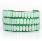 Light Green Color Cats Eye 3 Wrap Bangle Bracelet with Green Wax Cord and Shell Clasp