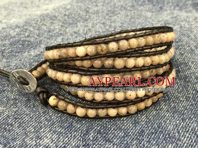 Fashion Hot Sale Multi Strands Round Steel Gray Cat's Eye Stone Beads Wrap Bangle Bracelet